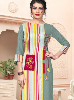 Handloom Cotton Embroidered Multi Colour Party Wear Kurti