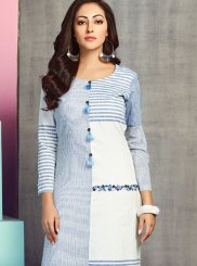 Handloom Cotton Embroidered Party Wear Kurti in Blue