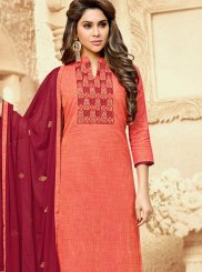 Handloom Cotton Peach Embroidered Churidar Suit