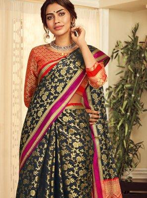 Handloom silk Black Weaving Classic Saree