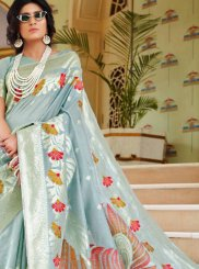 Handloom silk Blue Traditional Designer Saree
