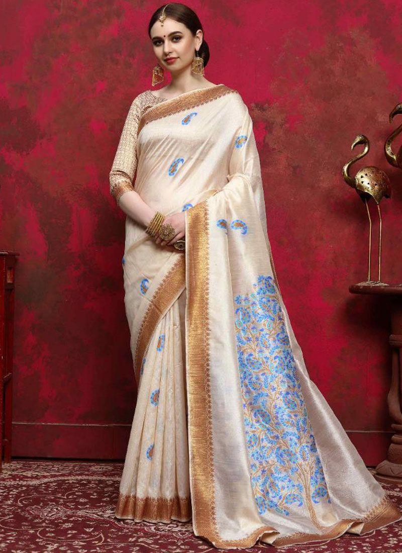 Handloom silk Cream Traditional Saree
