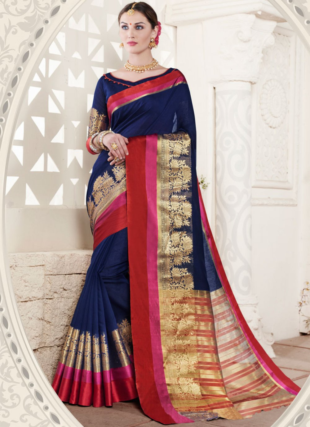 Handloom silk Navy Blue Weaving Work Designer Traditional Saree