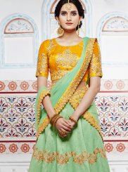 Handloom silk Sea Green Lehenga Choli