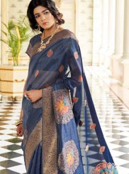 Handloom silk Weaving Blue Designer Traditional Saree