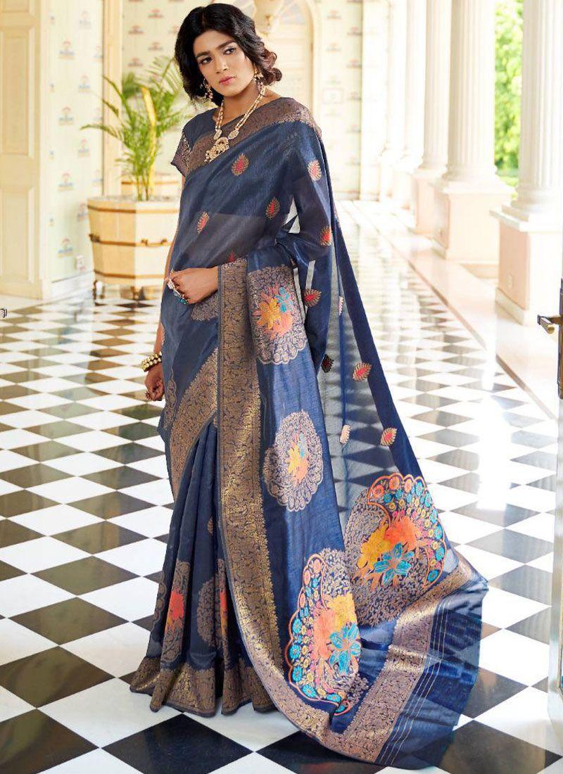 Handloom silk Weaving Blue Designer Traditional Saree