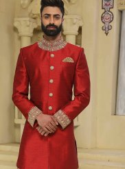 Handwork Art Raw Silk Sherwani in Maroon