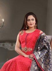 Handwork Chanderi Readymade Designer Gown  in Fuchsia