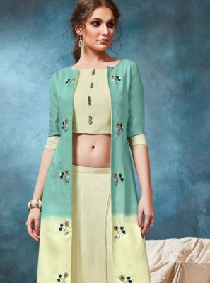 Handwork Cream and Sea Green Party Wear Kurti