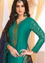 Handwork Georgette Satin Teal Designer Salwar Kameez