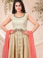 Handwork Gold Khadi Silk Trendy Gown