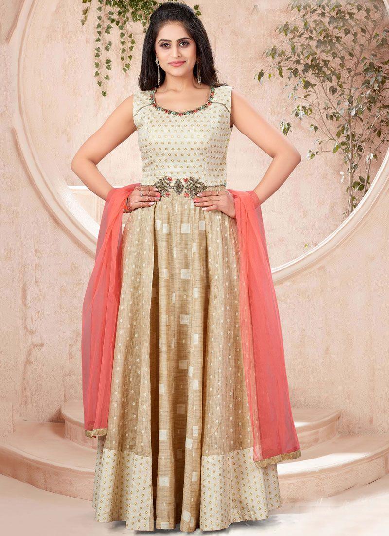 Handwork Gold Khadi Silk Trendy Gown