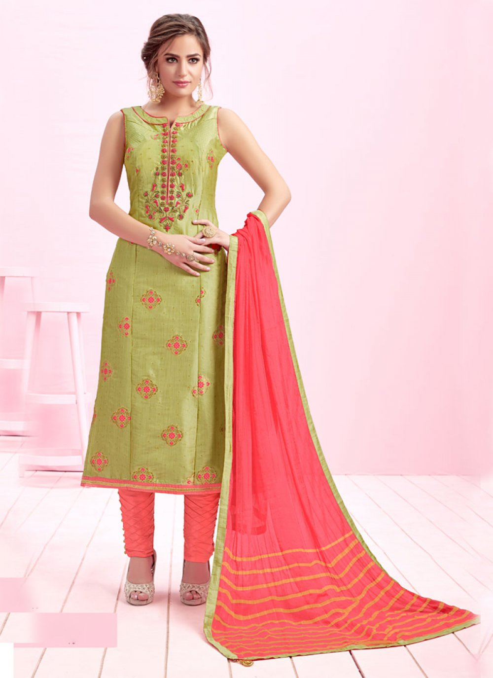 Handwork Green Art Silk Readymade Suit