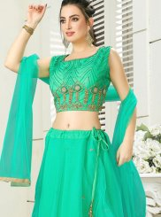Handwork Green Silk Readymade Lehenga Choli