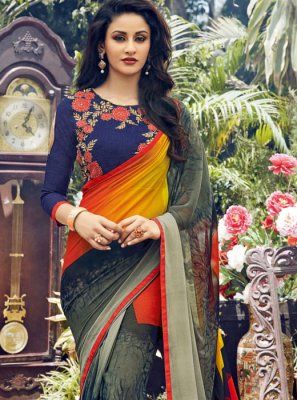Handwork Multi Colour Faux Georgette Classic Designer Saree