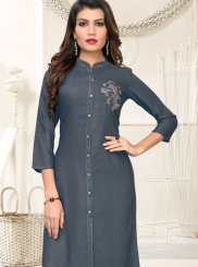 Handwork Rayon Casual Kurti in Grey