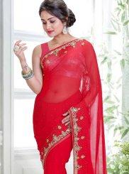 Handwork Red Classic Designer Saree
