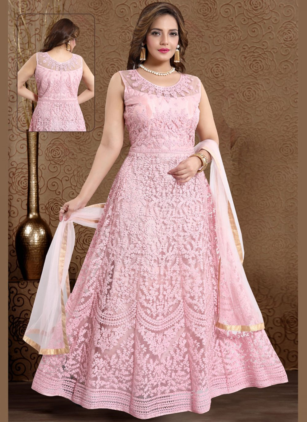 Handwork Satin Pink Readymade Suit