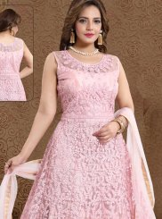 Handwork Satin Pink Readymade Suit