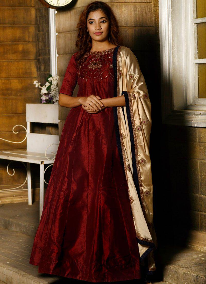 Handwork Silk Designer Gown