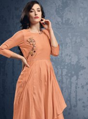 Handwork Silk Party Wear Kurti in Peach