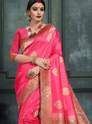 Hot Pink Abstract Print Art Silk Classic Saree