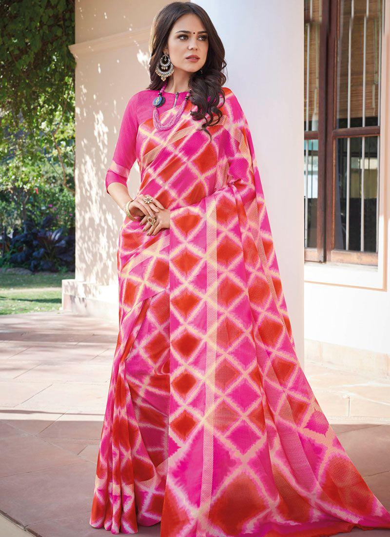 Hot Pink Abstract Print Casual Printed Saree