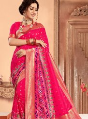 Hot Pink Abstract Print Classic Saree