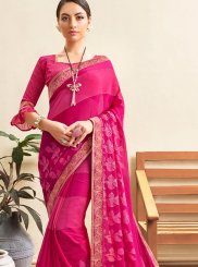 Hot Pink Abstract Print Faux Georgette Printed Saree
