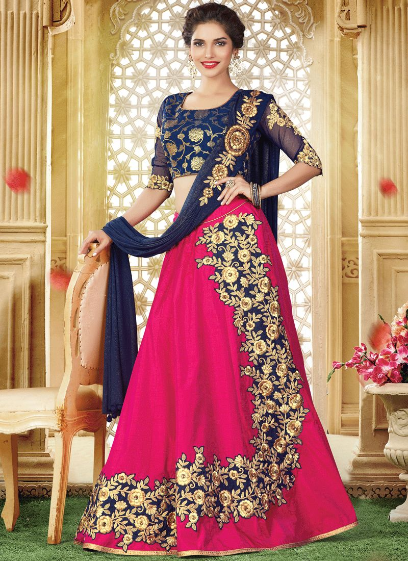 Hot Pink and Navy Blue Patch Border Work Lehenga Choli