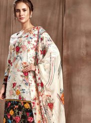 Hot Pink and Off White Digital Print Cotton Designer Palazzo Salwar Kameez