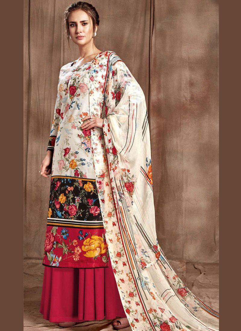 Hot Pink and Off White Digital Print Cotton Designer Palazzo Salwar Kameez