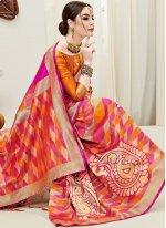 Hot Pink and Orange Art Silk Ceremonial Half N Half  Saree