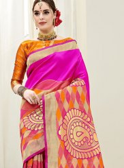 Hot Pink and Orange Art Silk Ceremonial Half N Half  Saree