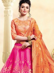 Hot Pink and Orange Wedding Lehenga Choli