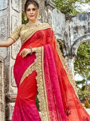 Hot Pink and Red Ceremonial Cotton Silk Shaded Saree