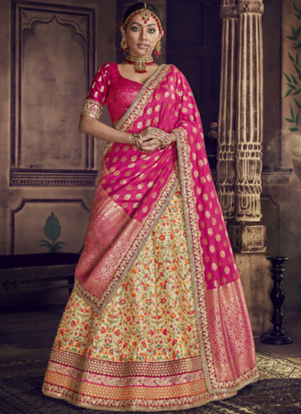 Hot Pink and Yellow Art Silk Zari Lehenga Choli