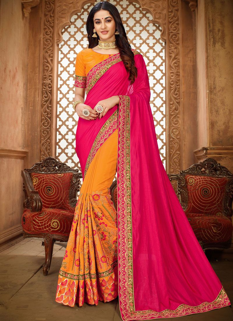 Hot Pink and Yellow Patch Border Saree