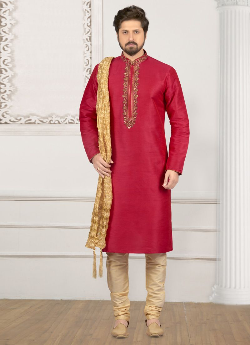 Hot Pink Art Banarasi Silk Ceremonial Kurta Pyjama