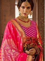 Hot Pink Art Silk Bridal Lehenga Choli