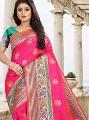 Hot Pink Art Silk Bridal Traditional Saree