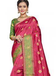Hot Pink Art Silk Ceremonial Designer Traditional Saree