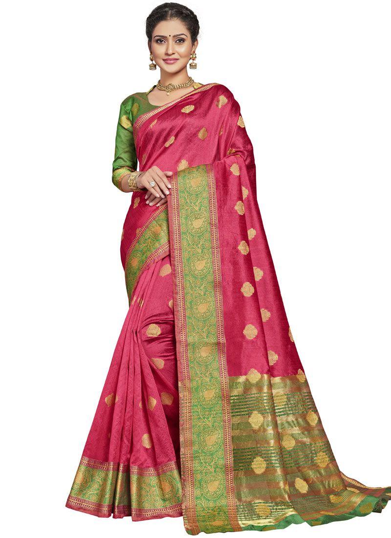 Hot Pink Art Silk Ceremonial Designer Traditional Saree
