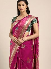 Hot Pink Art Silk Ceremonial Traditional Designer Saree