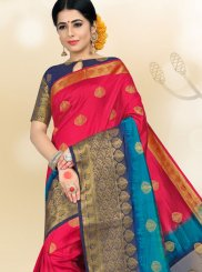Hot Pink Art Silk Ceremonial Traditional Saree