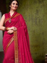 Hot Pink Art Silk Designer Traditional Saree