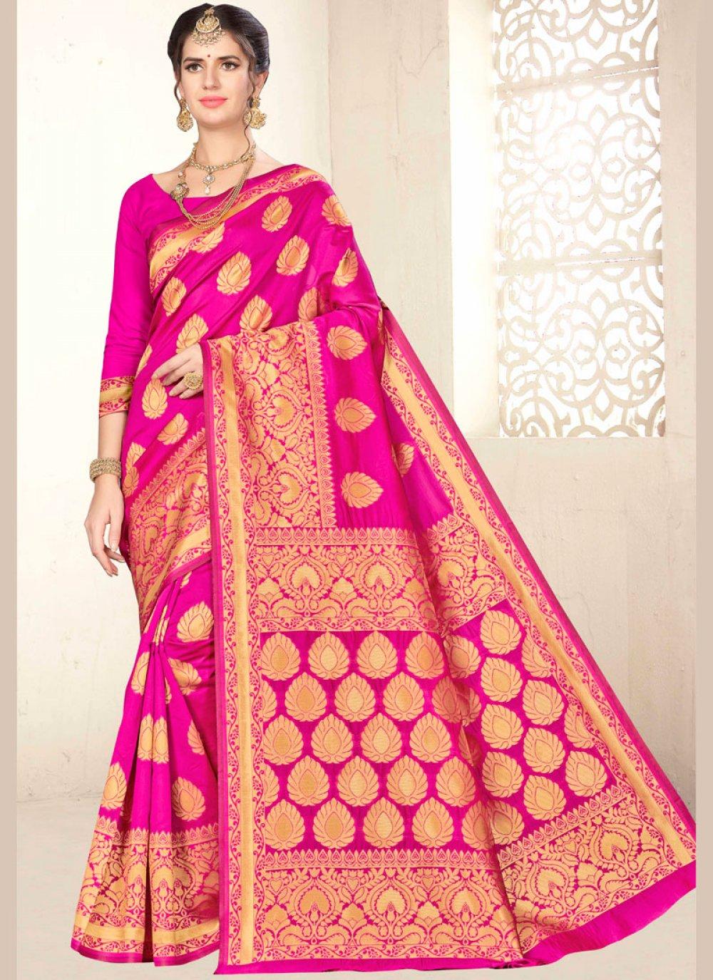 Hot Pink Art Silk Designer Traditional Saree
