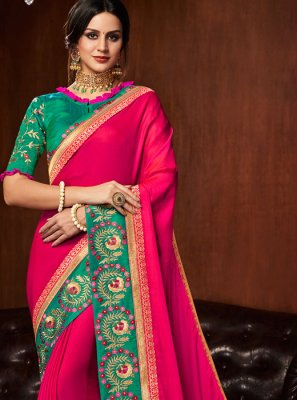 Hot Pink Art Silk Embroidered Traditional Saree