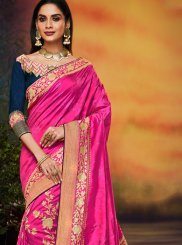 Hot Pink Art Silk Festival Designer Traditional Saree