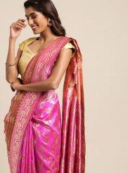 Hot Pink Art Silk Festival Designer Traditional Saree